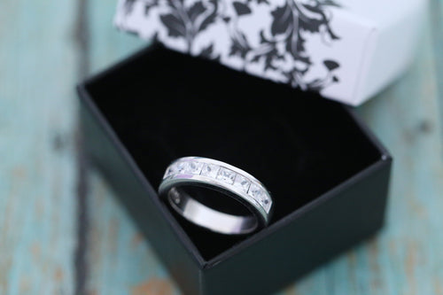 Cremation Ring - Sterling Silver Men's Square Cut Band Ring - Cremation Jewelry - Ash Ring - Ash Jewelry - Urn Ring - Pet Loss
