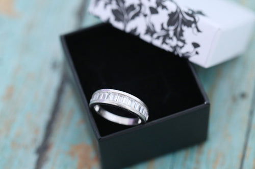 Cremation Ring - Sterling Silver Baguette Band Ring - Cremation Jewelry - Ash Ring - Ash Jewelry - Urn Ring - Pet Loss