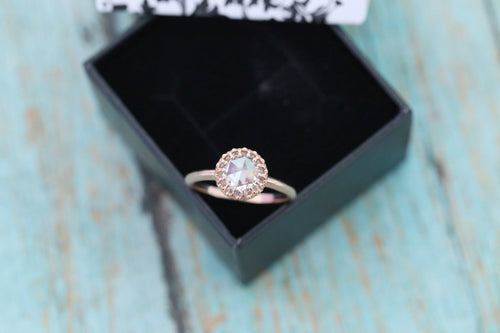 "14k Rose Gold Cremation Ring - ""Fiona"" Princess Crown Ring - Rose Cut Moissanite - Cremation Jewelry - Ash Ring - Ash Jewelry - Pet Loss"