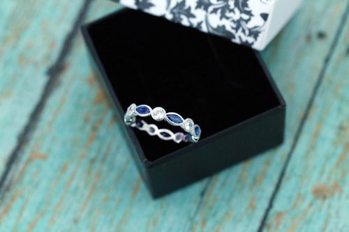 Sterling Silver Marquise and Round Eternity Band Ring - Sapphire - Cremation Jewelry - Ash Ring - Ash Jewelry - Pet Loss - Urn Jewelry