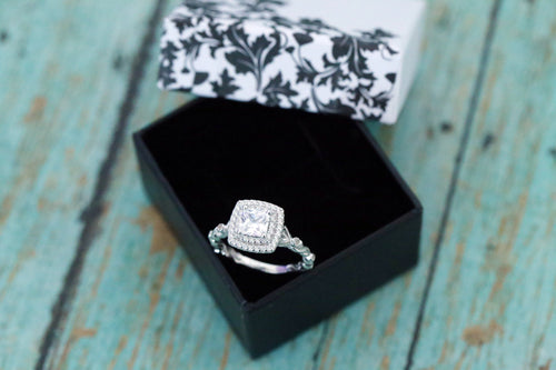 Sterling Silver Vintage Floral Square CZ Cremation Ring - Cremation Jewelry - Ash Ring - Ash Jewelry - Pet Loss -CZ Ring - Princess Cut Ring