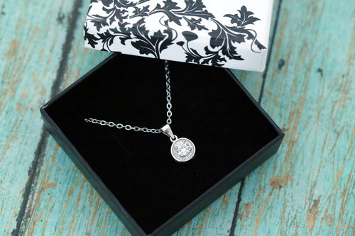 Cremation Pendant - Sterling Silver Small CZ Necklace - Cremation Jewelry - Ash Jewelry - Urn Necklace - Urn Jewelry - Pet Loss