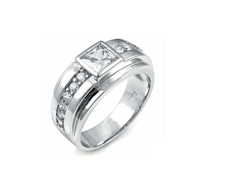 Sterling Silver Men's Square CZ Cremation Ring - Cremation Jewelry - Ash Ring - Ash Jewelry - Pet Loss - CZ Ring