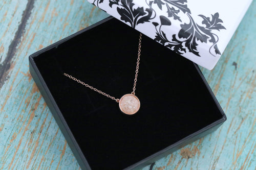 14k Rose Gold Cremation 10mm Round Ash Pendant - Diamond - Cremation Jewelry - Ash Necklace - Ash Jewelry - Urn - Urn Jewelry - Pet Loss