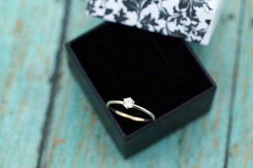14k Gold Cremation Ring - Thin Gold CZ Stacking Ring - Cremation Jewelry - Ash Ring - Ash Jewelry - Urn Ring - Pet Loss - Cremation Ring