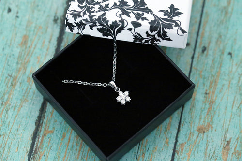 Cremation Pendant - Sterling Silver Tiny CZ Flower Necklace - Cremation Jewelry - Ash Jewelry - Urn Necklace - Urn Jewelry - Pet Loss