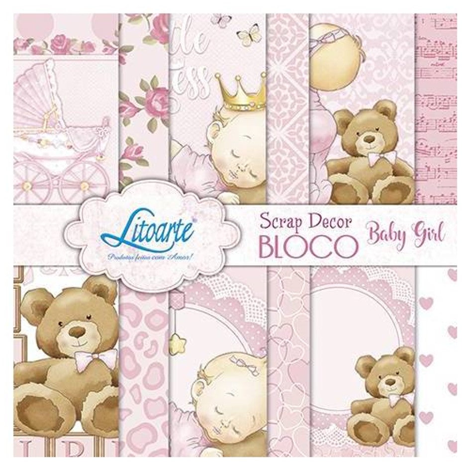 "Ideas y Colores - Block Papeles ""Baby Girl "" 6""x6"""