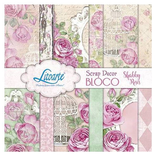 "Ideas y Colores - Block Papeles ""Shabby Roses"" 6""x6"""