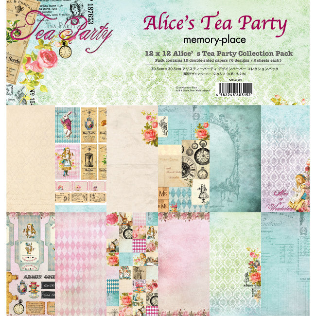 "Ideas y Colores - Blocks 12 Papeles ""Alice's Tea Party"" 12""x12"""