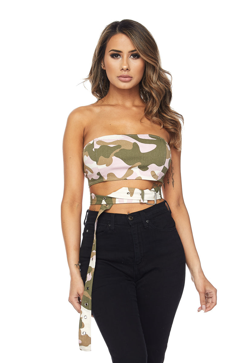 Lost In It Bandeau - Pink/White Camo