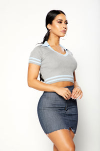 Tessa Crop Top - Blue