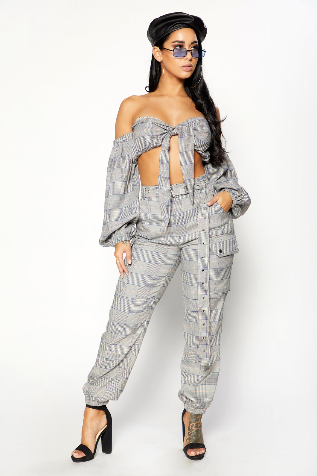 Plaid To Perfection Cargo Pants  -  Grey