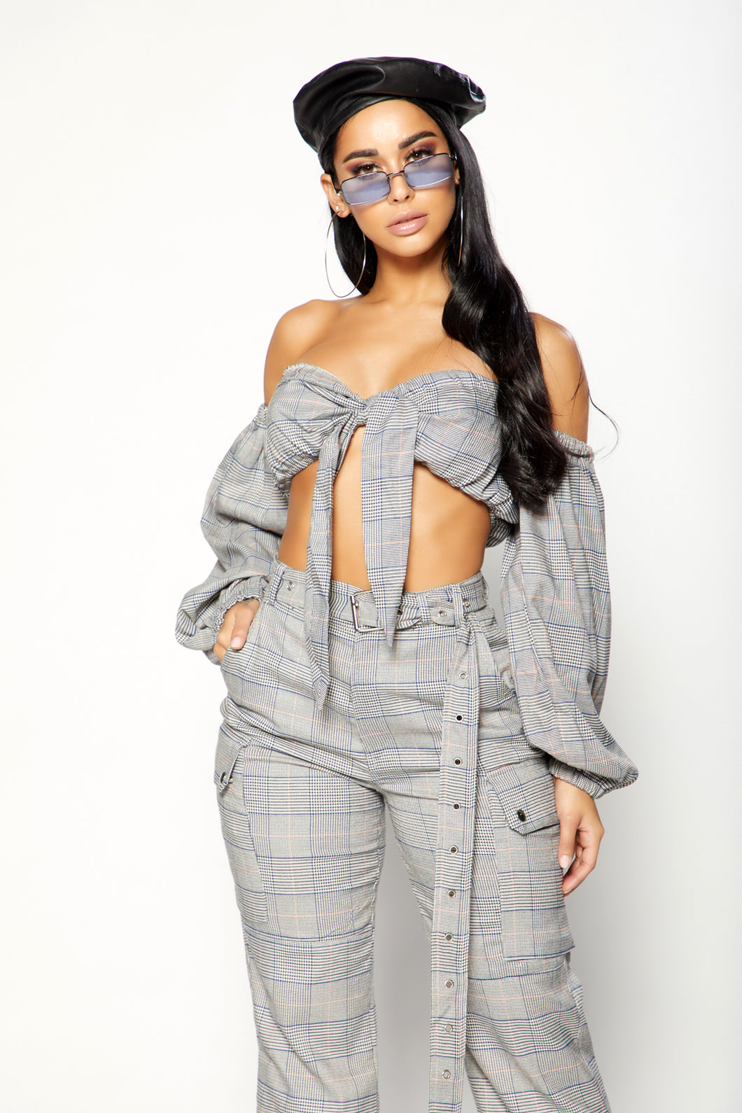 Plaid To Perfection Top -  Grey