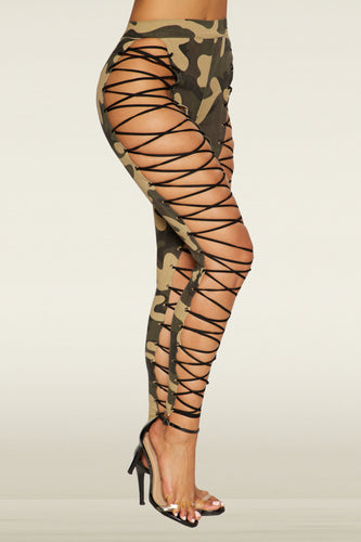 Kammie Lace Up Pants - Camo