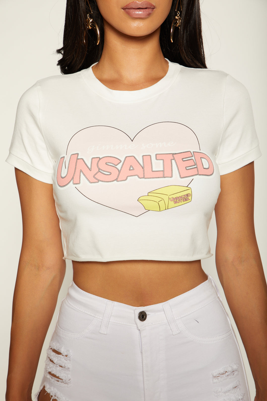Never Salty Crop Top - White