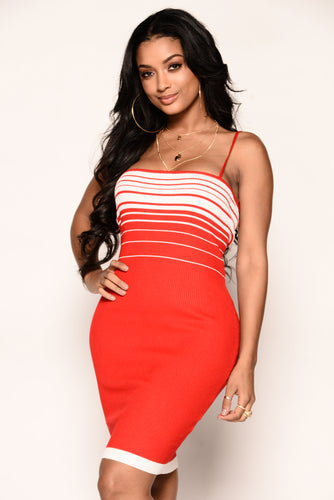 Sydney Dress - Red/White