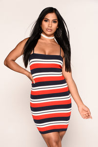 Striped For Success Dress - Navy/Red
