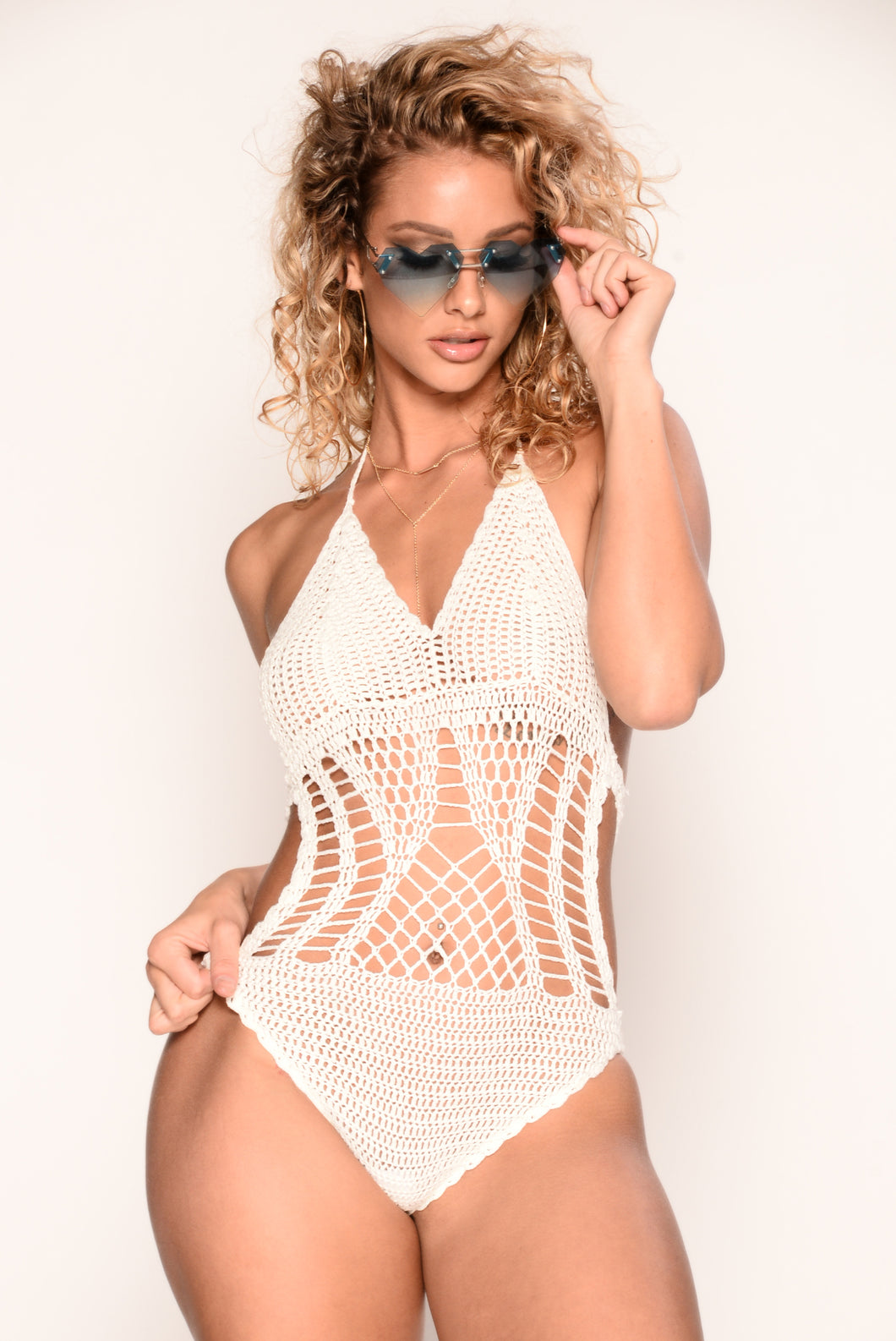 Montego Bay Crochet Bodysuit - White
