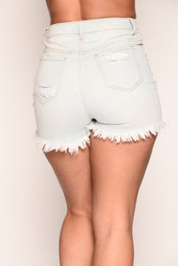 Catch My Drift Distressed Shorts - Light Blue