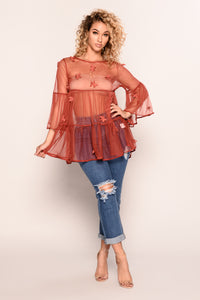 Ethereal Garden Top - Red