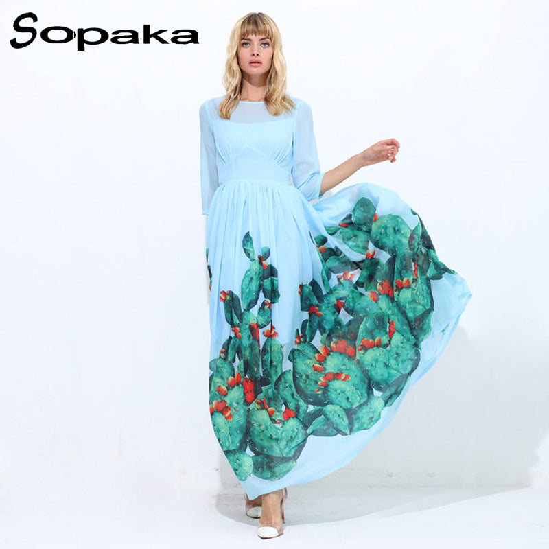 40f4b7911ae 2018 Autumn Three Quarter Sleeve Light Blue Floral Print Empire A-Line  Bohemian Long Dress
