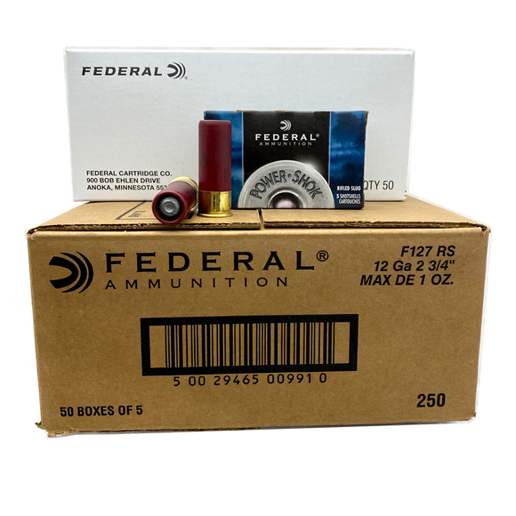 12 Gauge - Federal Power-Shok Rifled Slug 250 Rd. Case