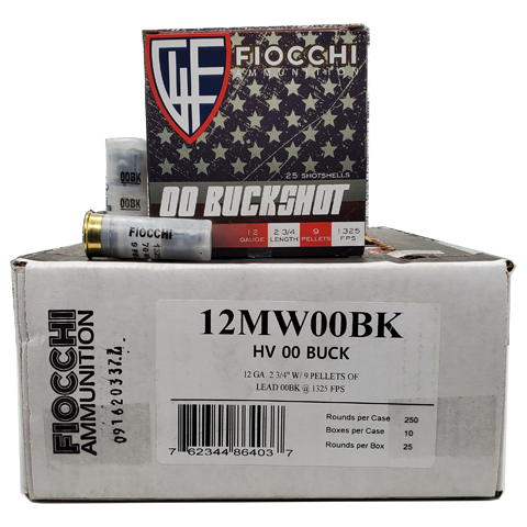 12 Gauge - Fiocchi 12 Gauge 9 Pellet hight Velocity 00 Buckshot Case
