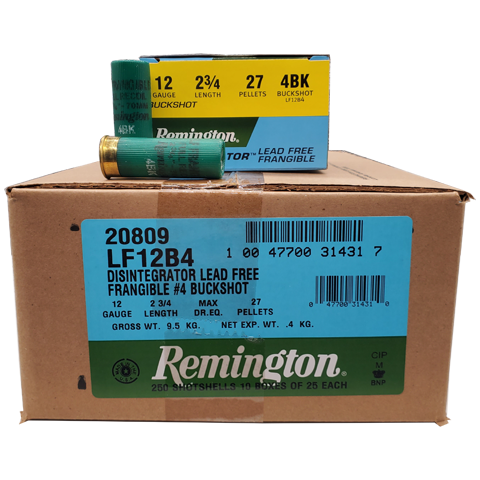 "12 Gauge - Remington LE 2-3/4"" #4 Buck Frangible Case"