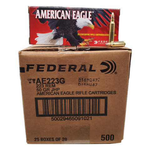 223 Rem - American Eagle 50 Grain Jacketed Hollow Point Case
