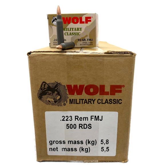 223 Rem - Wolf 55 Grain Military Classic 500 Round Case