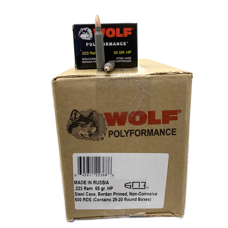 223 Rem - Wolf 55 Gr. Hollow Point 500 Rd. Case