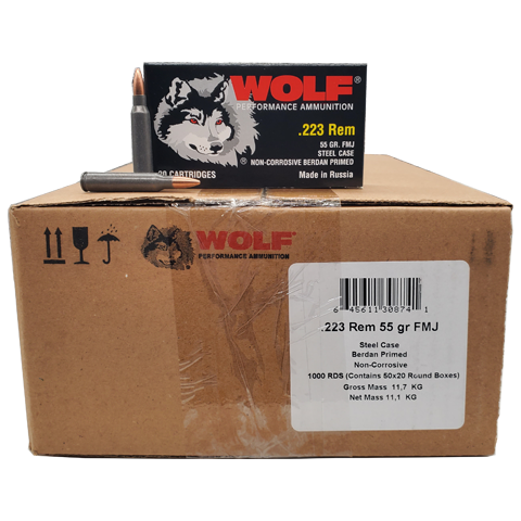 223 Rem - Wolf Performance 55 Gr. FMJ 1000 rds. Steel Case