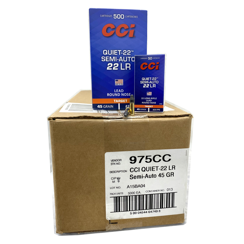22 Long Rifle - CCI Quiet Semi Auto 45 Gr. LRN 5,000 Rd. Case