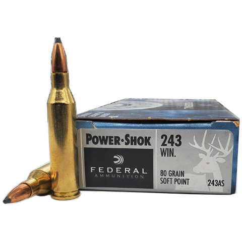 243 Win - Federal Power-Shok 80 Grain Soft Point