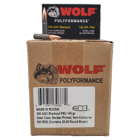 300 Blackout - Wolf Polyformance 145 Grain FMJ 500 rds. Steel Case
