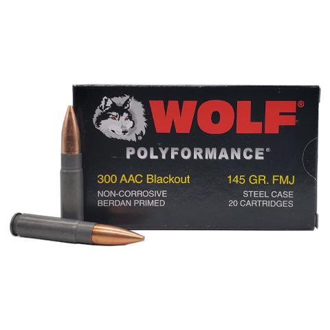 300 Blackout - Wolf Polyformance 145 Grain FMJ Steel Case
