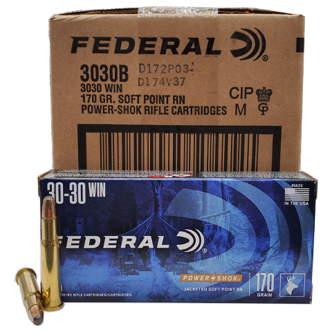 30-30 - Federal Power Shok 170 Grain JSP RN Case
