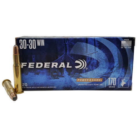 30-30 - Federal Power Shok 170 Grain JSP Round Nose