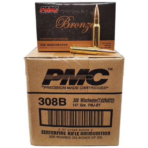 308 Win - PMC Bronze 147 Grain FMJ-BT Case