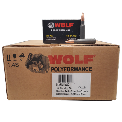 308 Win - Wolf Performance 145 Gr. FMJ 500 rd. case