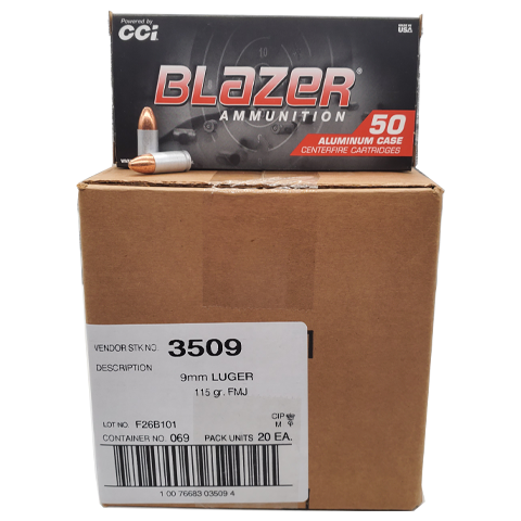 9mm - CCI Blazer Aluminum 115 GR. Full Metal Jacket Case