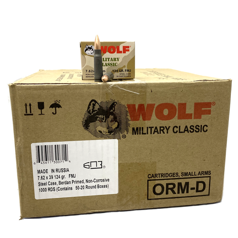 7.62x39 - Wolf Military Classic 124 Gr. 1,000 rds.