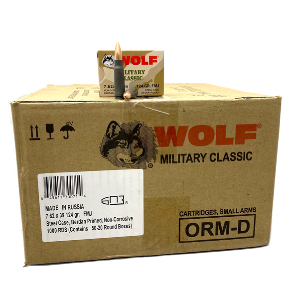 7.62x39 - Wolf Military Classic 124 Gr. FMJ Steel Case 1,000 rds.