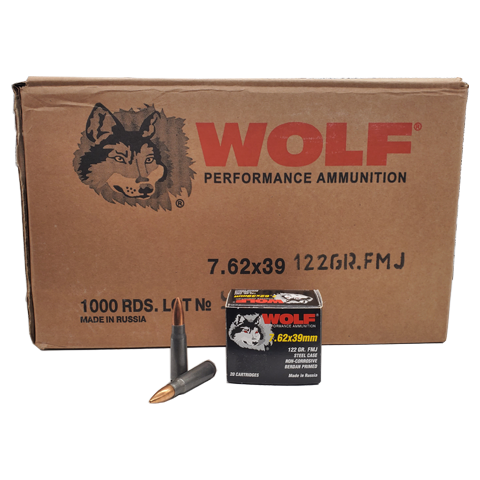 7.62x39 - Wolf Performance 122 Gr. FMJ 1000 rds. Steel Case