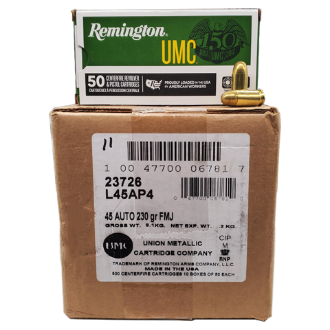 45 Auto - Remington UMC 230 Grain FMJ Case