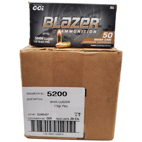 9mm - CCI Blazer 115 GR. Full Metal Jacket Case