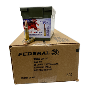 5.56 Nato - Federal American Eagle 55 Grain FMJ XM193 600 rd. case