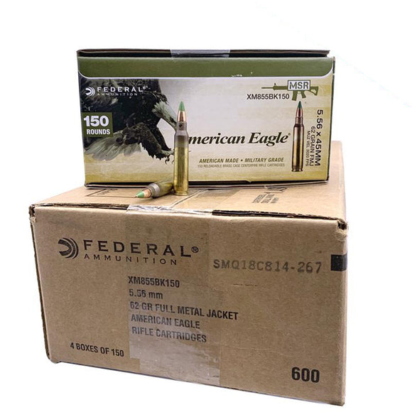 5.56 Nato - Federal XM855 62 Grain FMJ Green Tip  600 rd. Case
