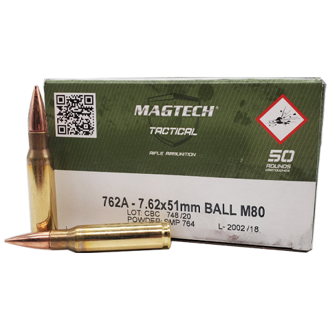 7.62x51 NATO - Magtech Tactical 147 Grain FMJ M80 Ball