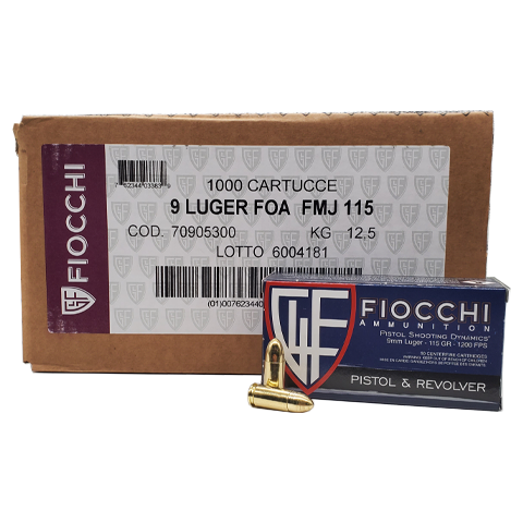 9MM - Fiocchi 115 Grain FMJ 1000 Round Case